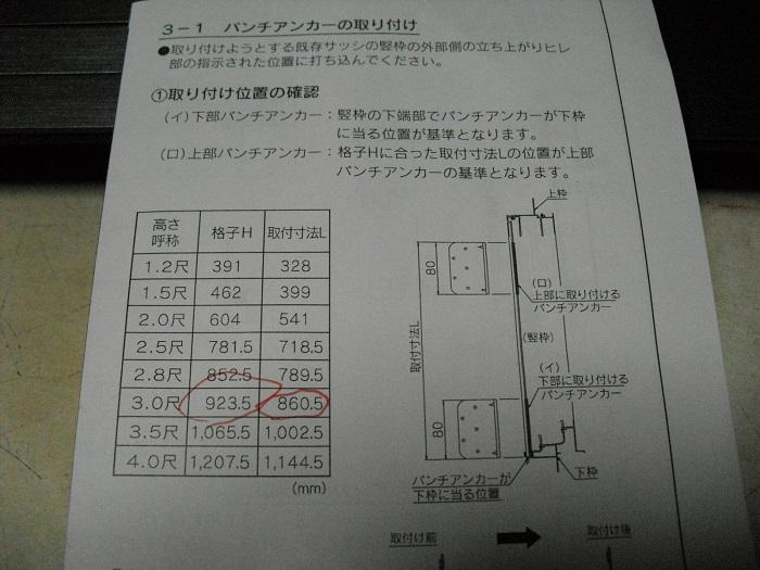 パンチアンカーの取付位置の写真